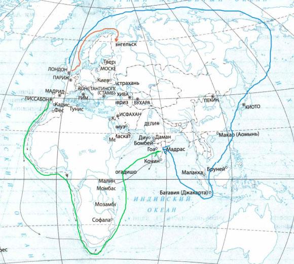 северные и южные пути из Европы в Индию - путь экспедиции мореплавателя Р. Ченслера